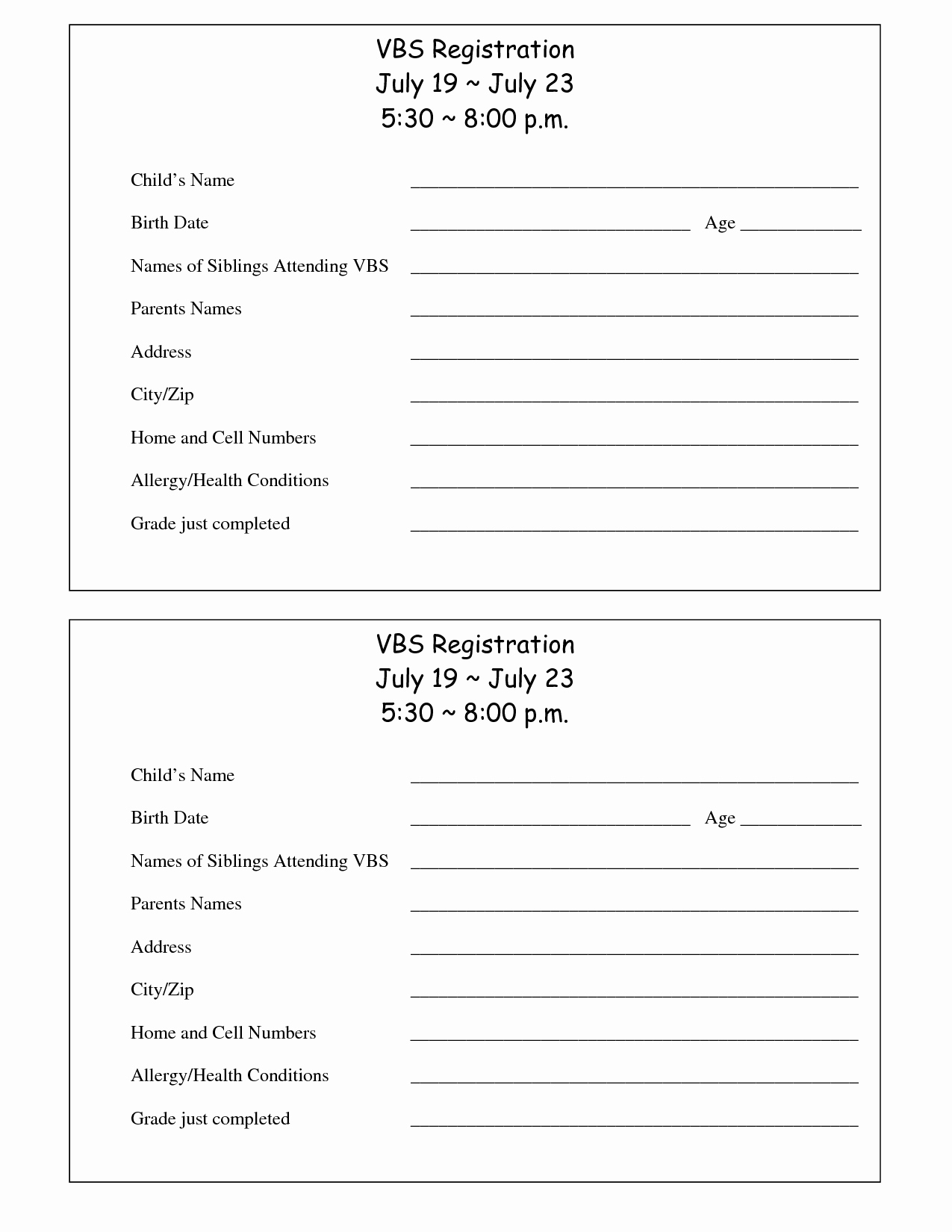 Free Registration forms Template Luxury Printable Vbs Registration form Template