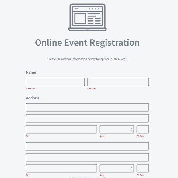 Free Registration forms Template New event Registration form Builder