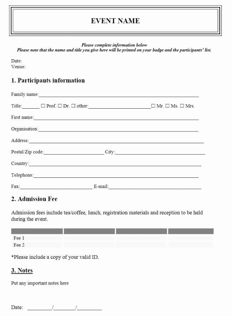 Free Registration forms Template New event Registration form Template Free event Registration