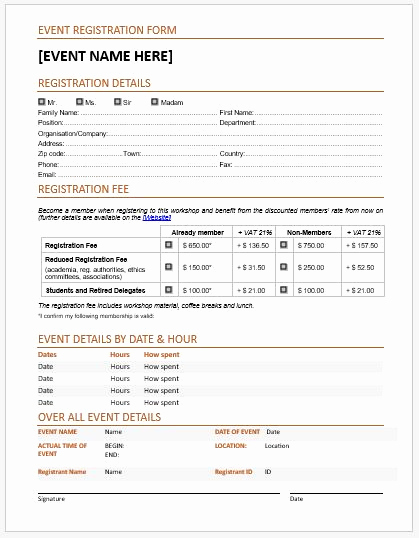 Free Registration forms Template New event Registration forms & Template for Ms Word