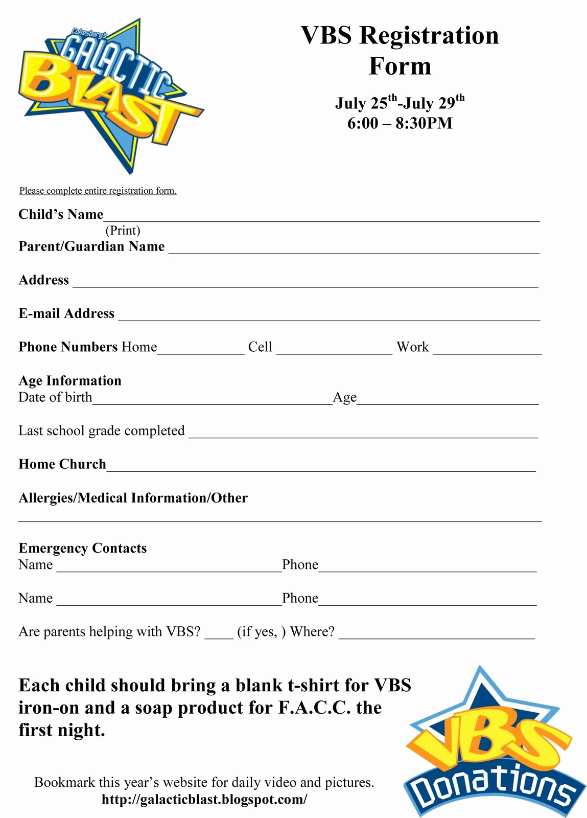 Free Registration forms Template New Free Vbs Registration form Template Vbs
