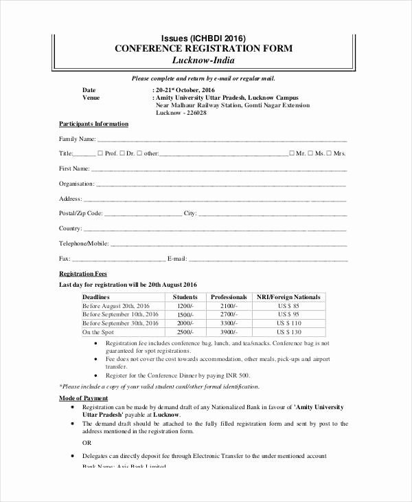 Free Registration forms Template Unique Printable Registration form Template