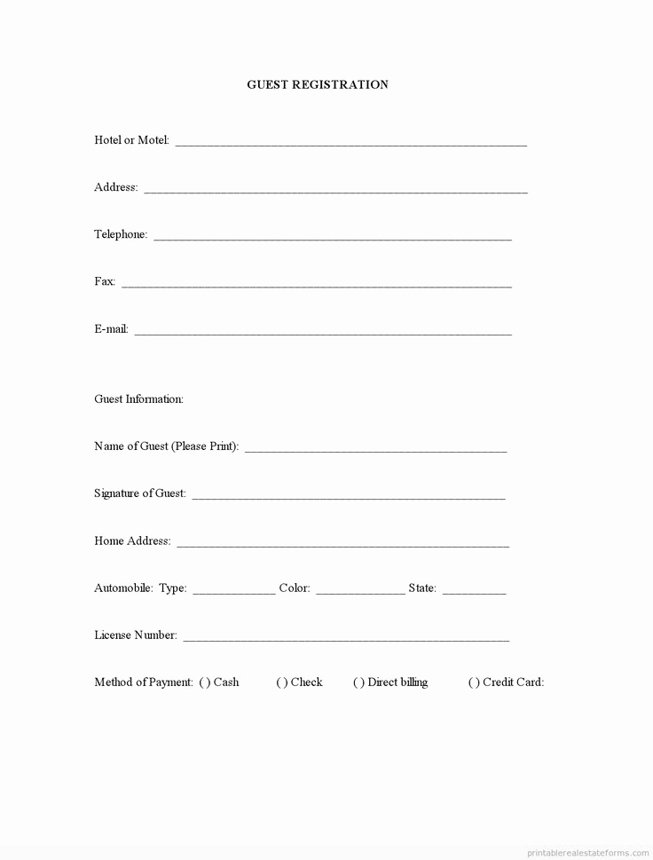 Free Registration forms Template Unique Sample Printable Guest Registration form