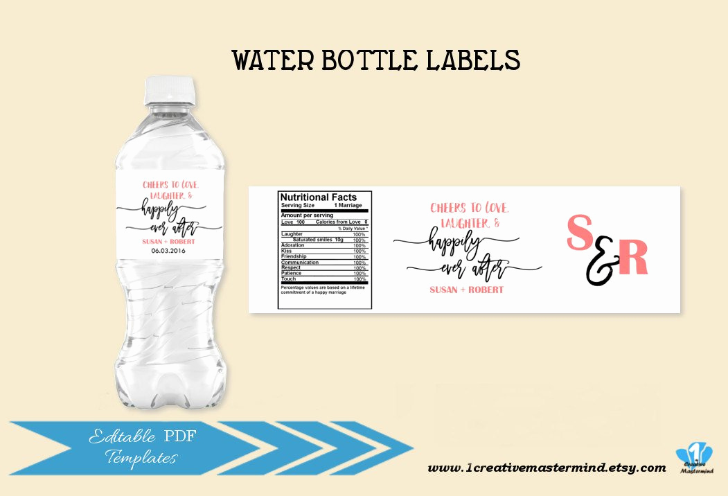 Free Water Bottle Template Elegant Diy Wedding Water Bottle Label Template Editable Water Bottle