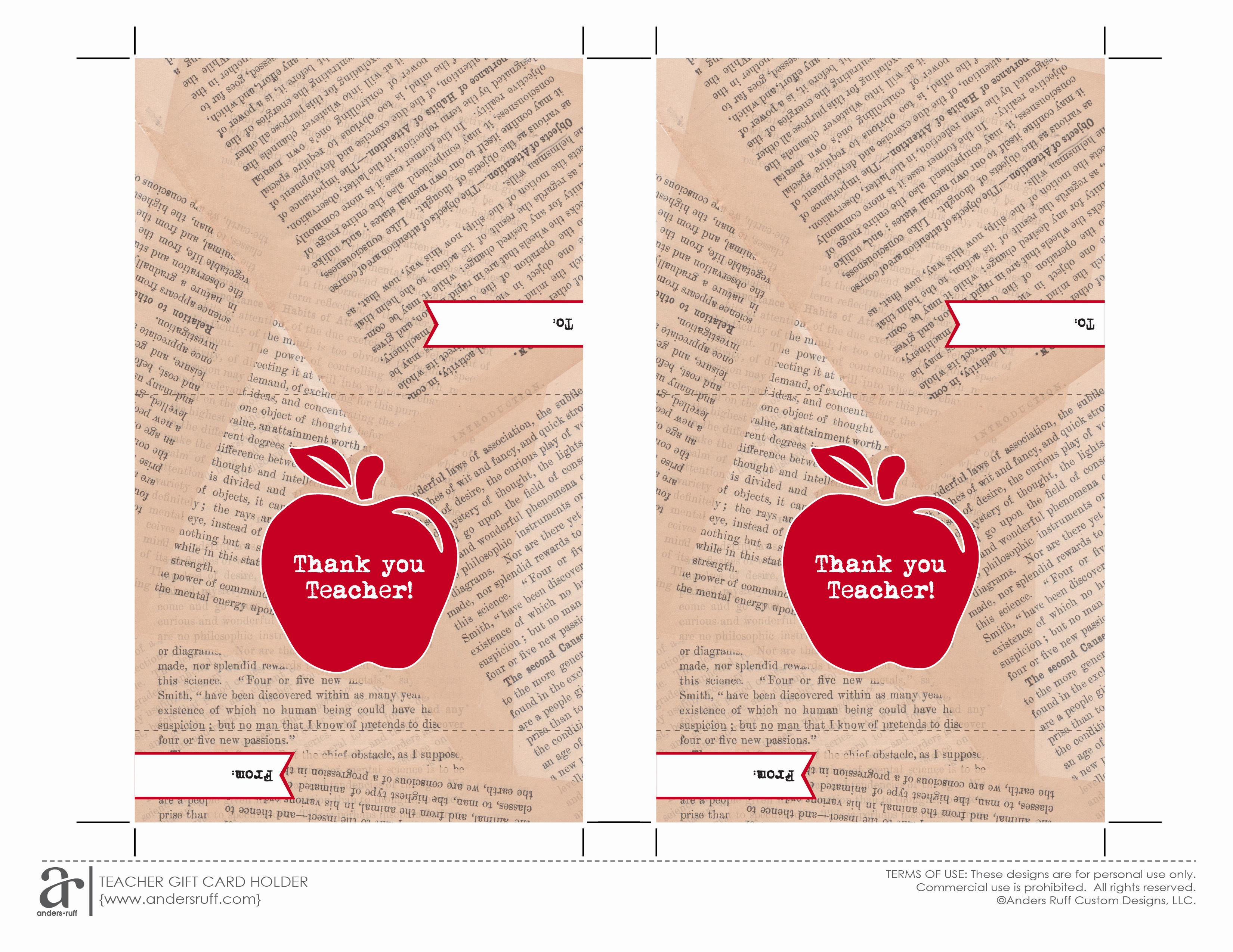 Gift Card Holder Template Free Elegant Ruff Draft Free Printable Gift Card Holder for Teacher