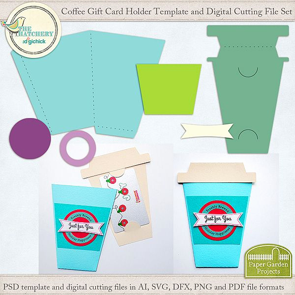Gift Card Holder Template Free Fresh Coffee Cup Digital Cutting File