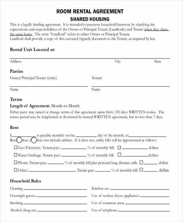 House Rental Contract Template Awesome 13 Room Rental Agreement Templates – Free Downloadable