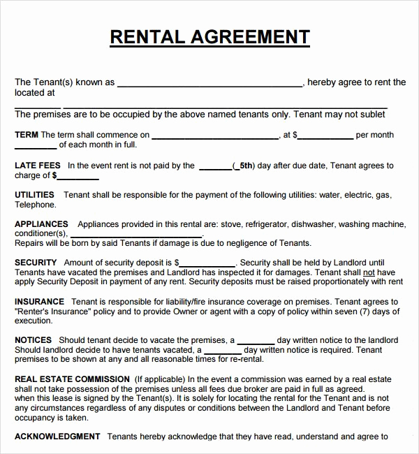 House Rental Contract Template Awesome Lease Agreement for Rental House