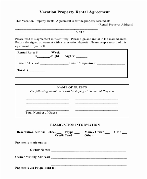 House Rental Contract Template Awesome Vacation Rental Agreement – 8 Free Word Pdf Documents