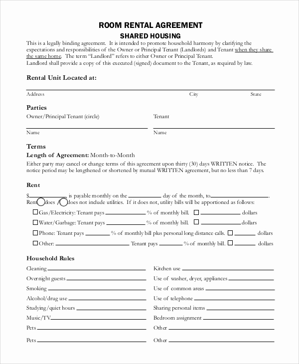 House Rental Contract Template Beautiful 8 Basic Rental Agreement Samples