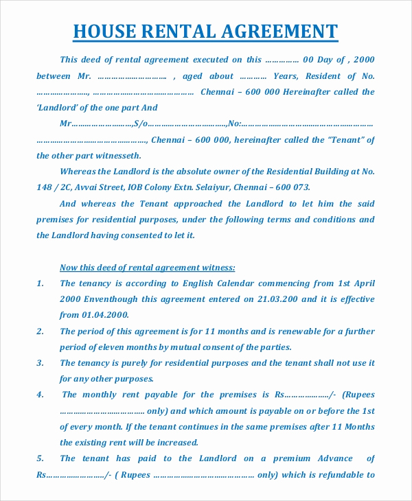 House Rental Contract Template Best Of Sample House Rental Agreement 19 Examples In Pdf Word