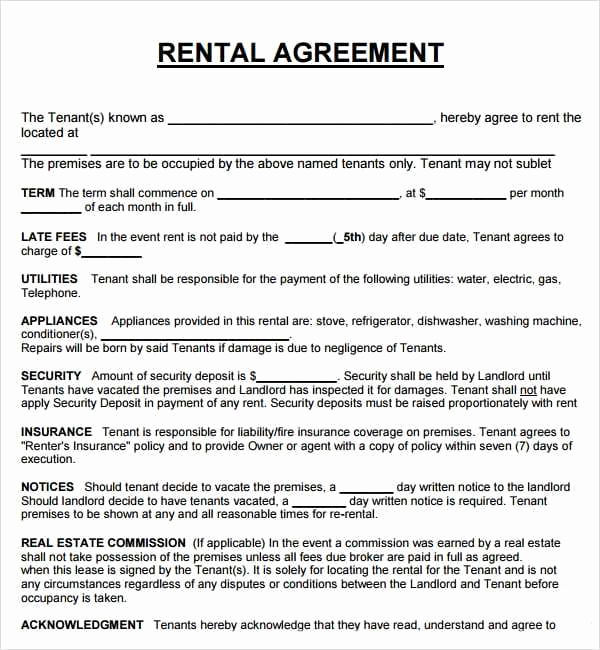 House Rental Contract Template Elegant 20 Rental Agreement Templates Word Excel Pdf formats