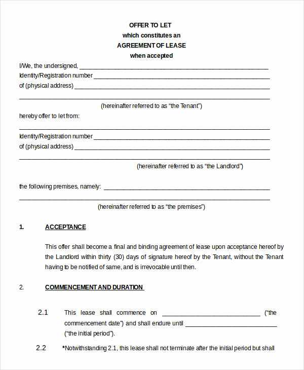 House Rental Contract Template Elegant Printable Blank Lease Agreement form 17 Free Word Pdf