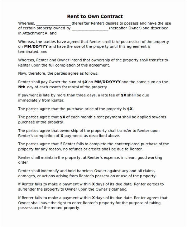 House Rental Contract Template Fresh Rent to Own Home Contract 7 Examples In Word Pdf