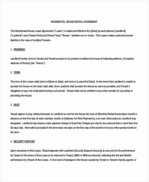 House Rental Contract Template Inspirational 18 House Rental Agreement Templates Doc Pdf