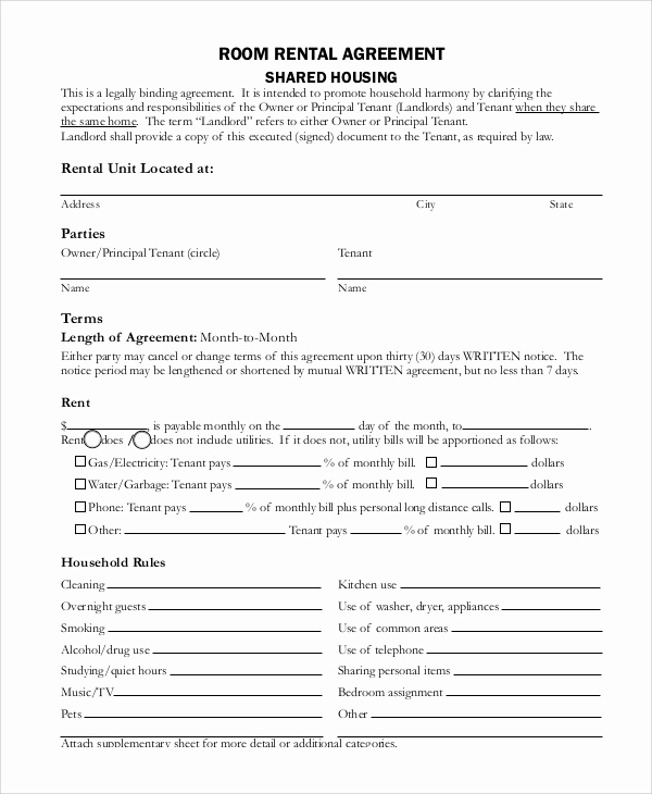 House Rental Contract Template Luxury 7 Sample Month to Month Rental Agreements