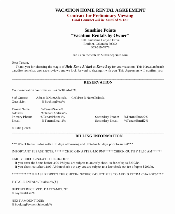 House Rental Contract Template New House Rental Agreement 10 Word Pdf Documents Download