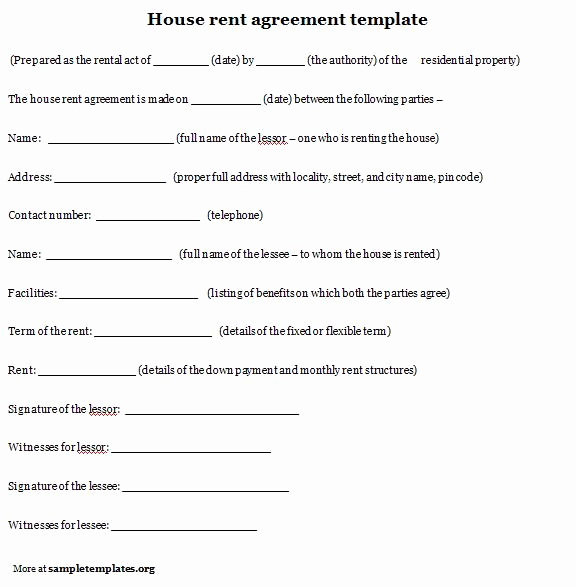 House Rental Contract Template Unique 10 Best Of House Rental Agreement Template House