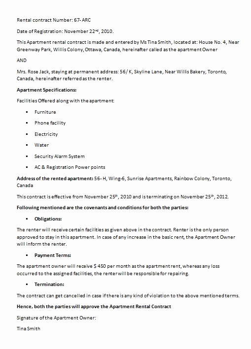 House Rental Contract Template Unique House Rental Contract Template