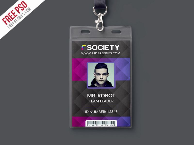 Id Badge Template Photoshop Elegant Corporate Fice Id Card Psd Template