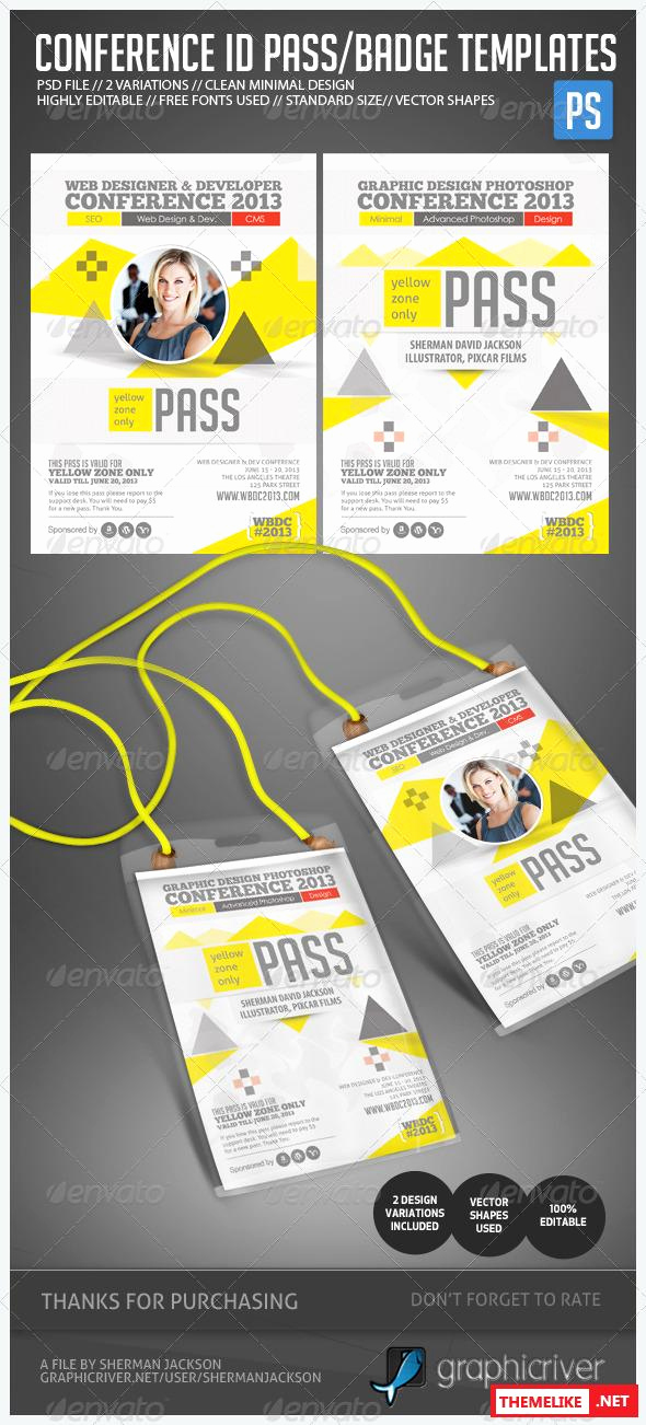 Id Badge Template Photoshop Luxury Graphicriver Conference Expo & Corporate Pass Id Badge