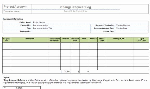 Management Of Change Procedure Template Unique Change Request Log Excel Template Templates Data