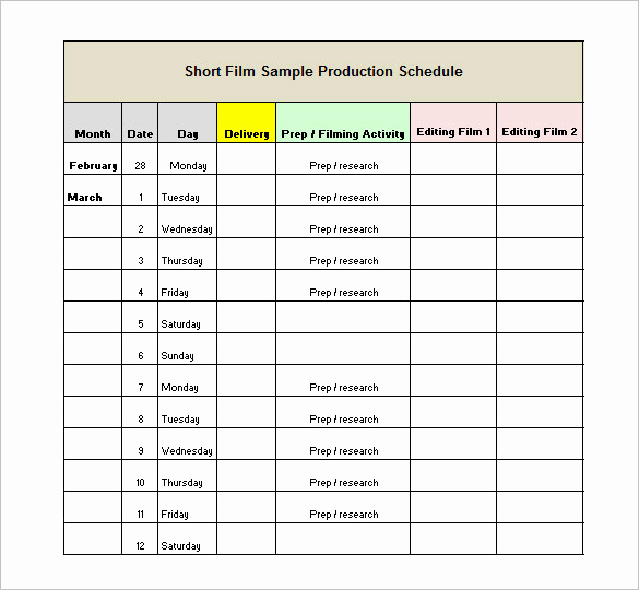 Manufacturing Production Schedule Template New 13 Production Schedule Templates Pdf Doc
