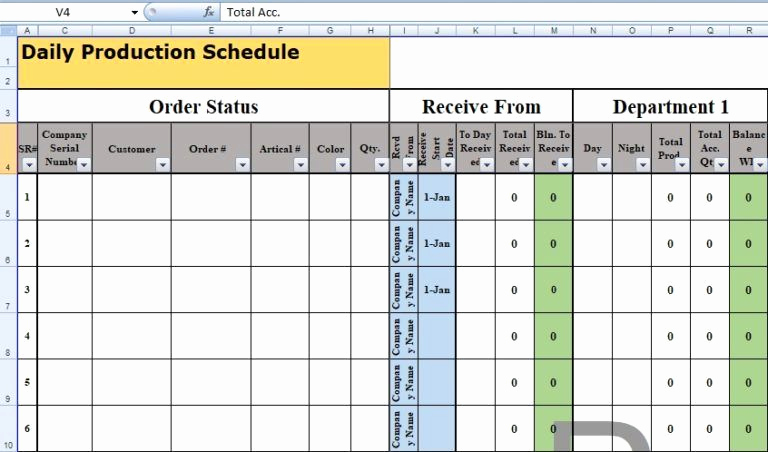 Manufacturing Production Schedule Template Unique Daily Production Schedule Template Excel