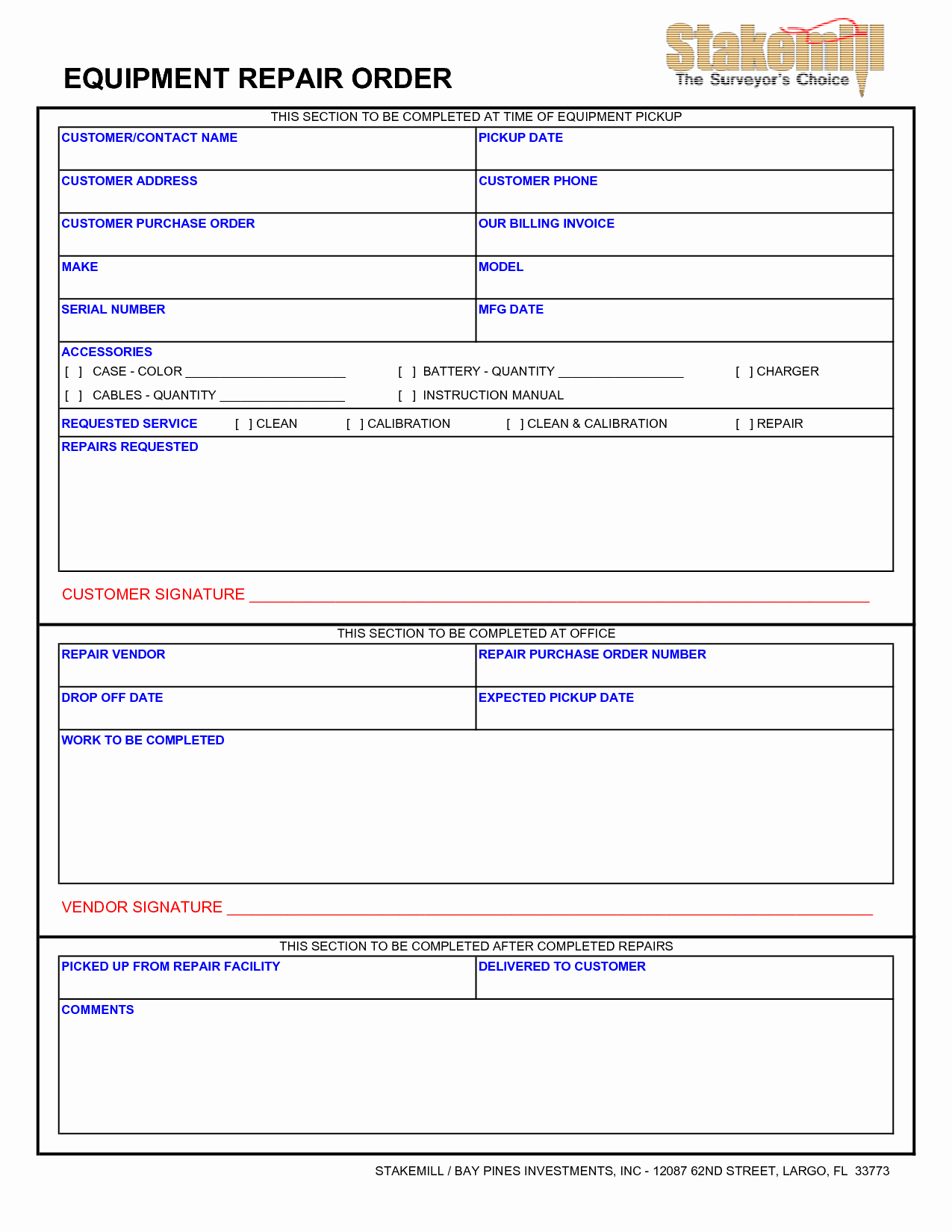 Mechanic Work order Template Awesome Best S Of Equipment Maintenance form Template