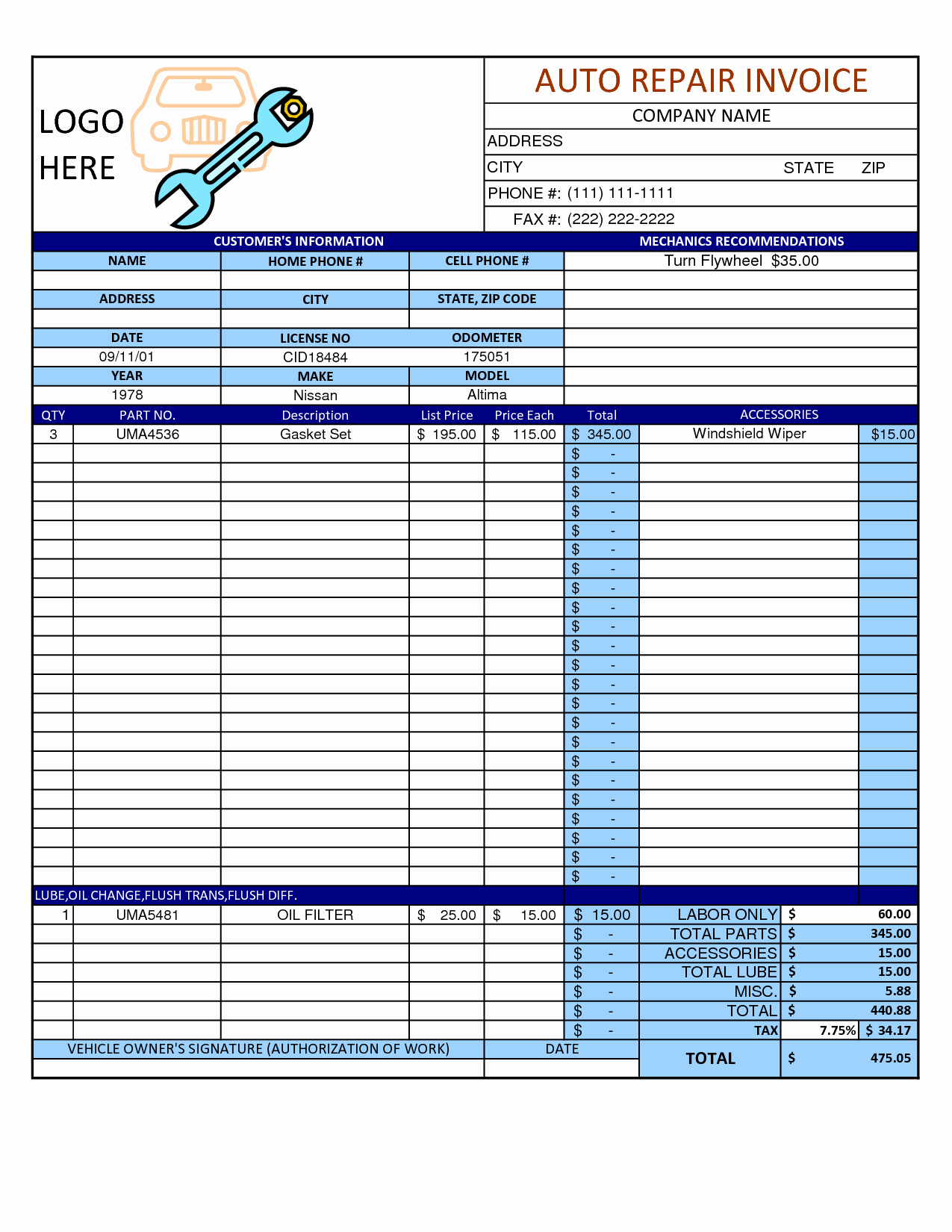 Mechanic Work order Template Awesome Mechanic Shop Invoice