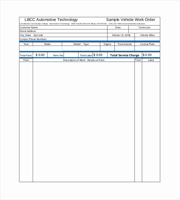 Mechanic Work order Template Fresh 20 order Template Word Excel Pdf