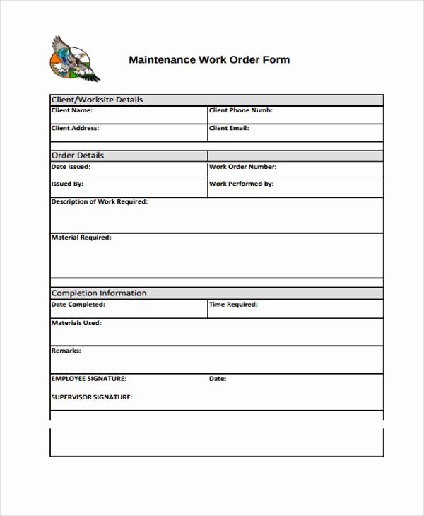 Mechanic Work order Template Inspirational Work order Templates 9 Free Pdf format Download