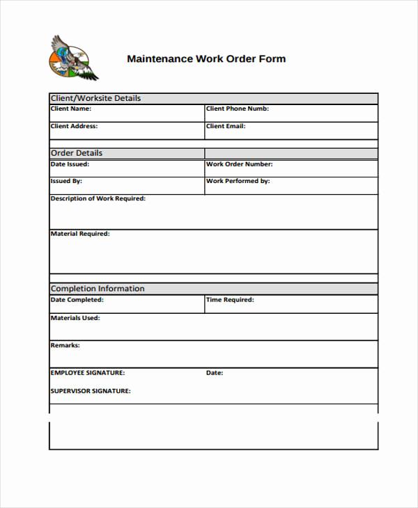 Mechanic Work order Template Inspirational Work order Templates 9 Free Pdf format Download