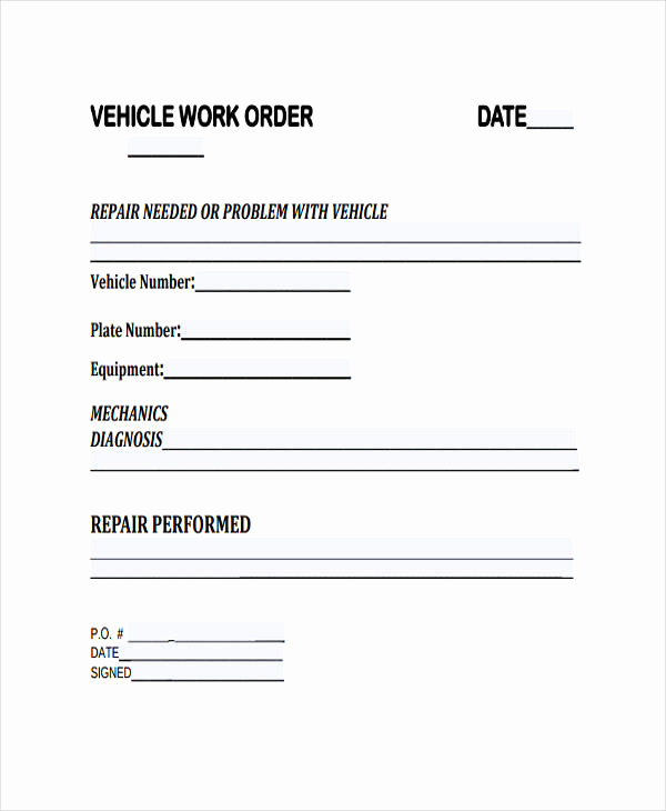 Mechanic Work order Template Lovely 28 Work order Templates Ai Psd