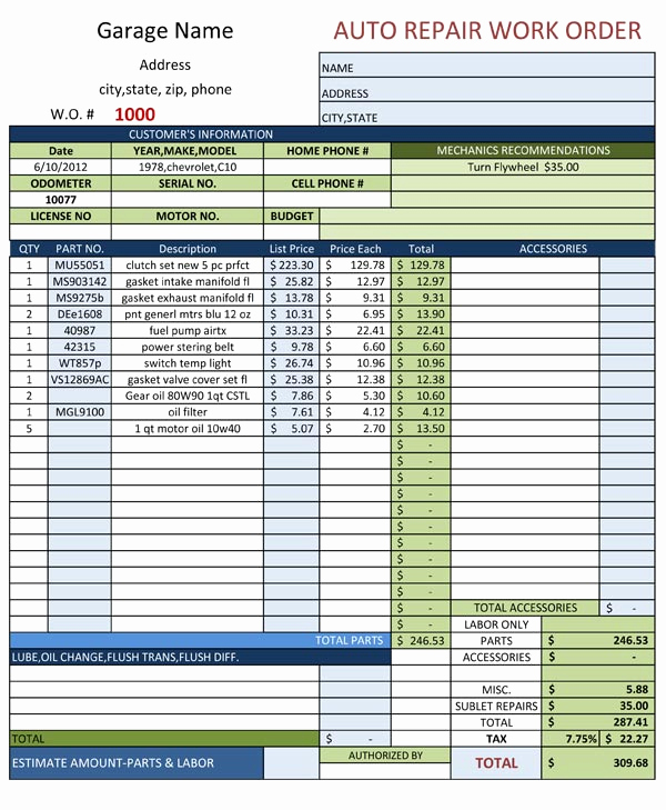 Mechanic Work order Template New Auto Repair Work order Template