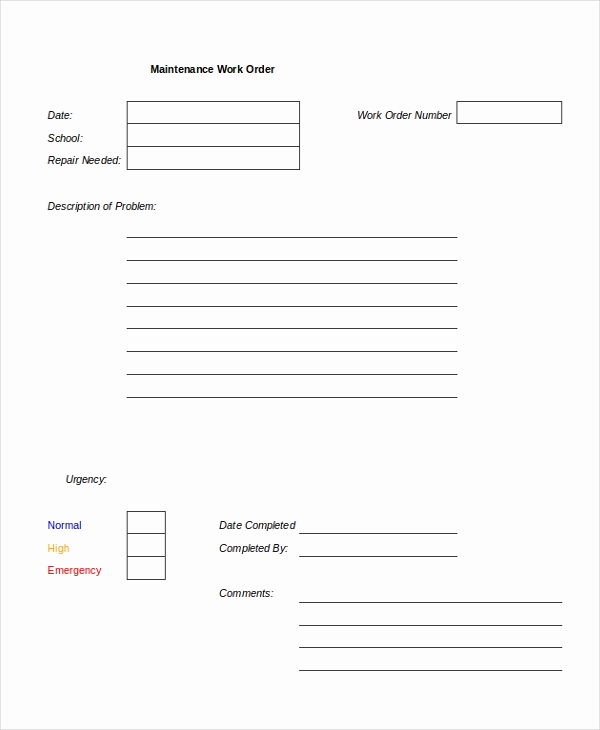 Mechanic Work order Template Unique Excel Work order Template 13 Free Excel Document