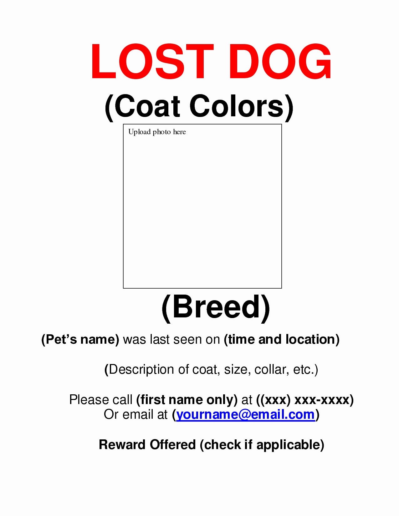 Missing Dog Flyer Template Lovely 9 Best Of Missing Dog Flyer Template Free Lost