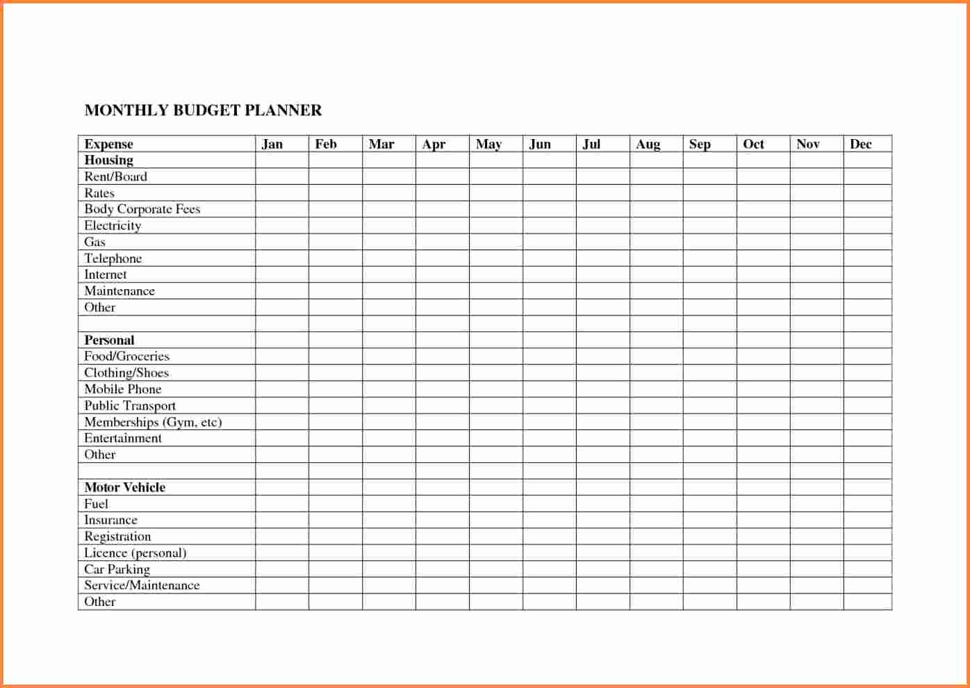 Monthly Budget Spreadsheet Template Best Of 10 Monthly Bud Planner Spreadsheet