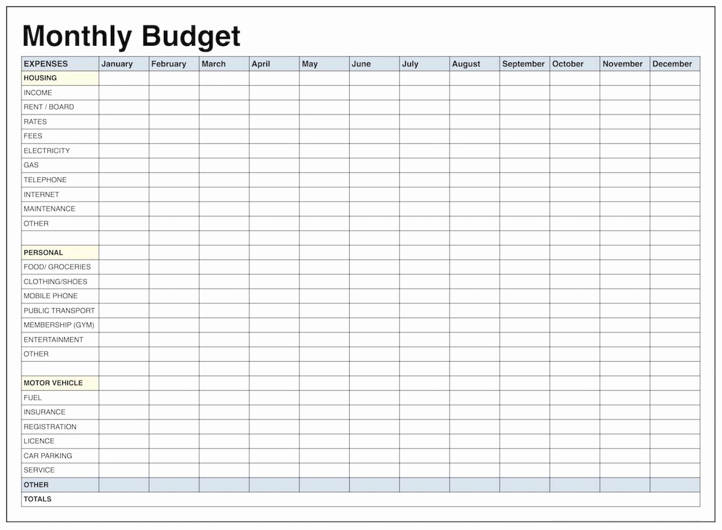 Monthly Budget Spreadsheet Template Elegant Blank Monthly Bud Template Pdf