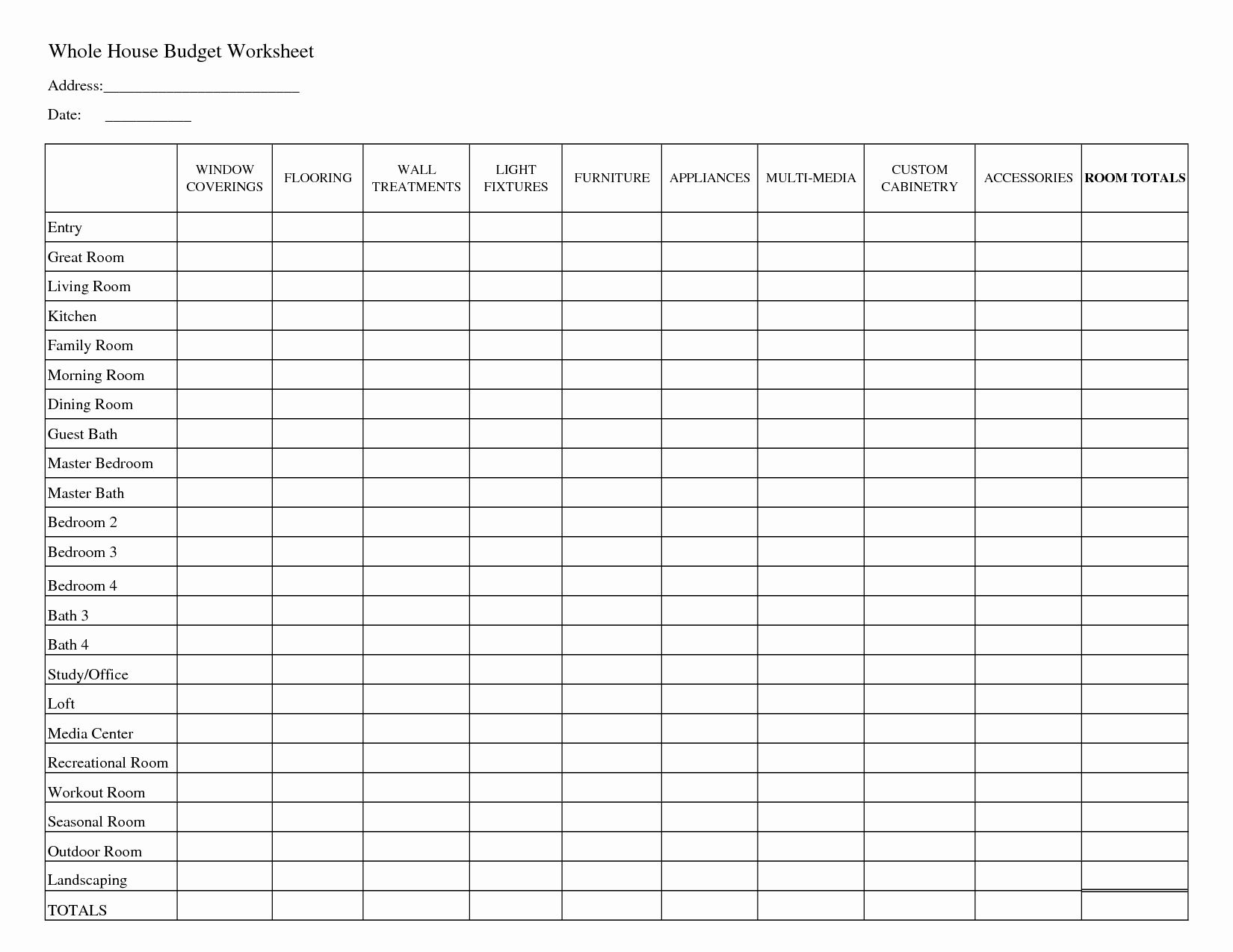 Monthly Budget Spreadsheet Template Lovely Printable Household Bud Worksheets