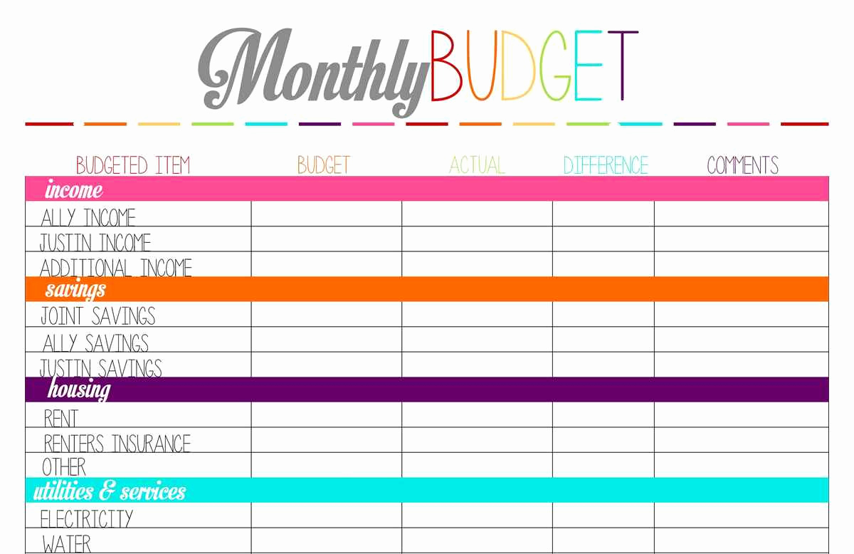 Monthly Budget Spreadsheet Template Lovely Printable Monthly Bud Template