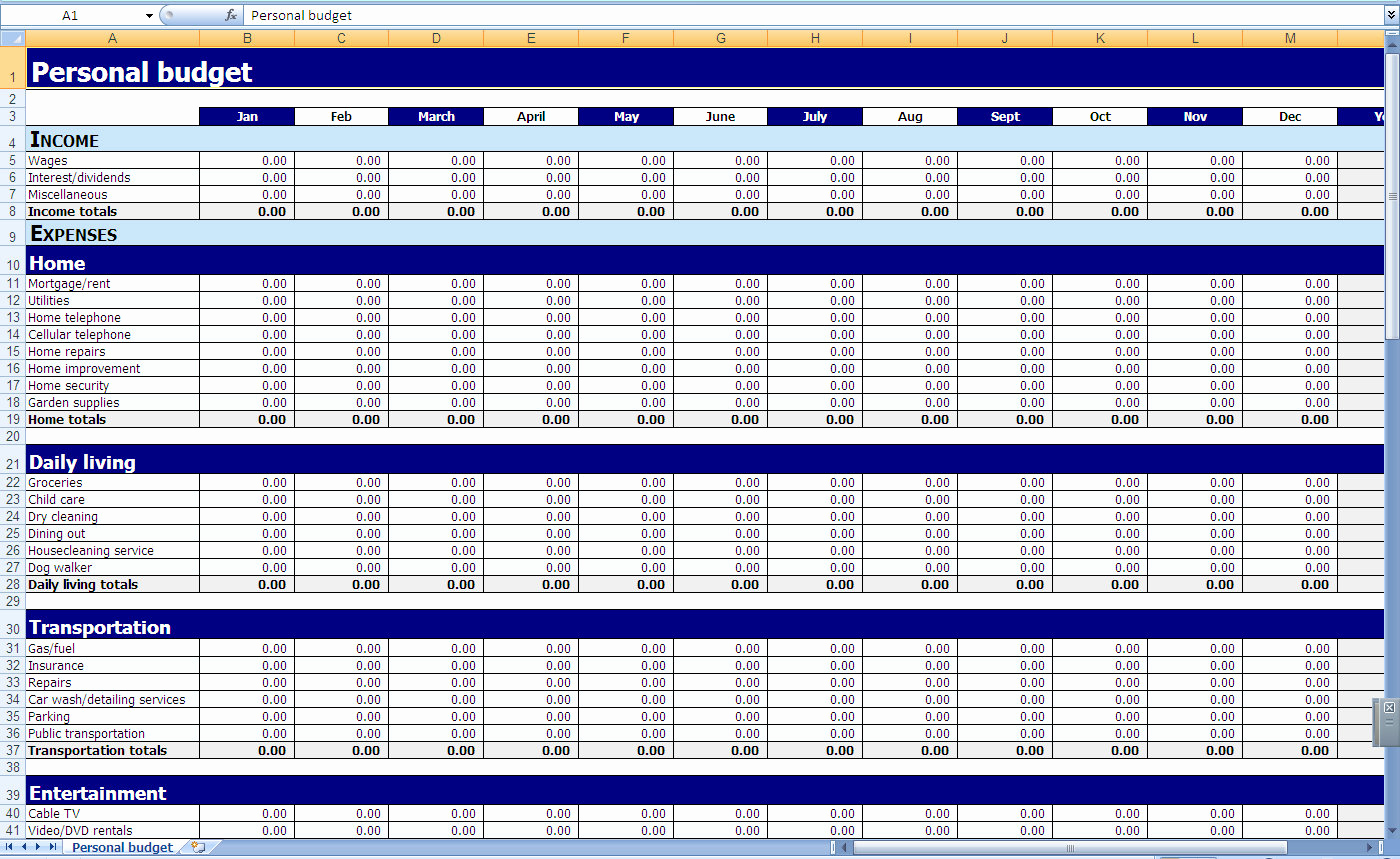 Monthly Budget Spreadsheet Template Unique Monthly and Yearly Bud Spreadsheet Excel Template