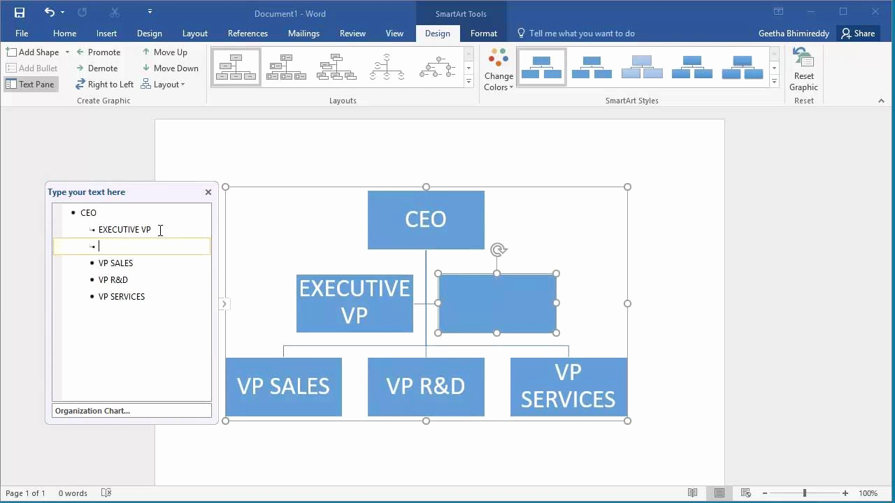 Ms Word org Chart Templates Awesome How to Create An organization Chart In Word 2016