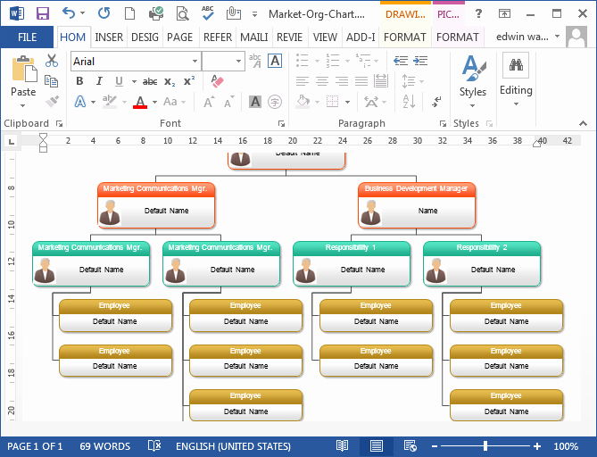 Ms Word org Chart Templates Best Of organizational Chart In Word