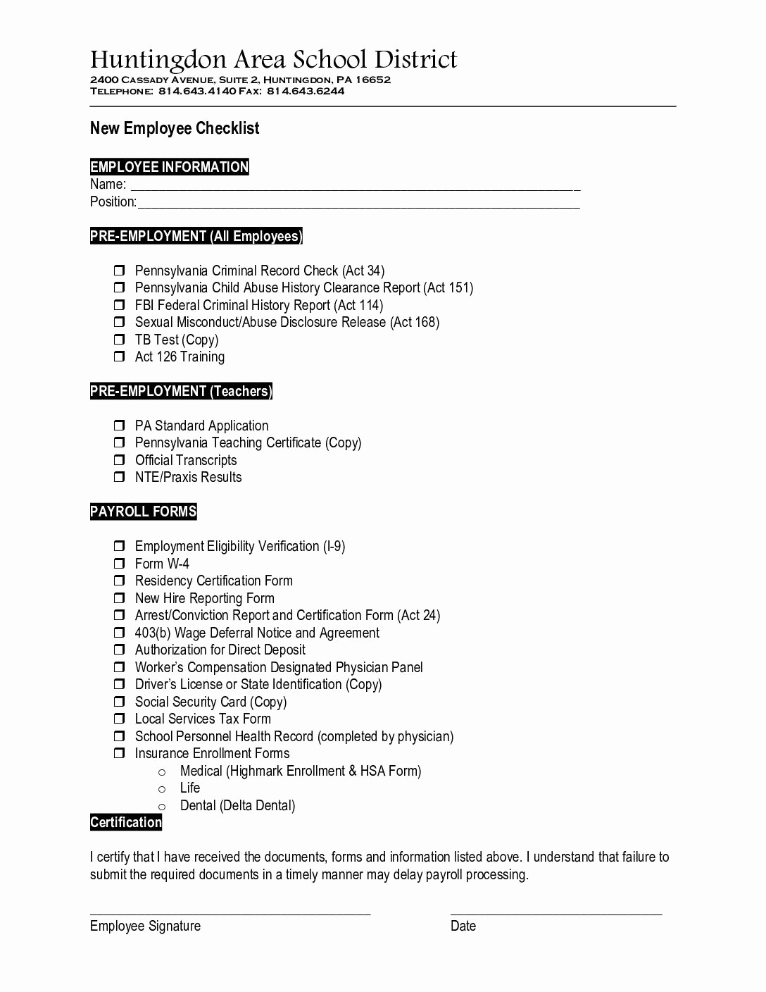 New Hire Packet Template Beautiful New Hire Packet forms Bing Images