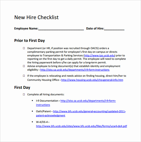New Hire Packet Template Elegant 13 New Hire Checklist Samples