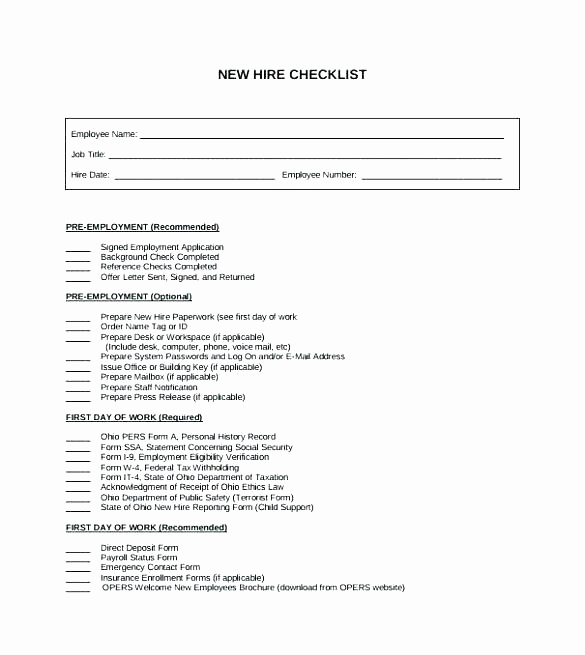 New Hire Packet Template Inspirational New Hire Checklist Template Business Templates Employment