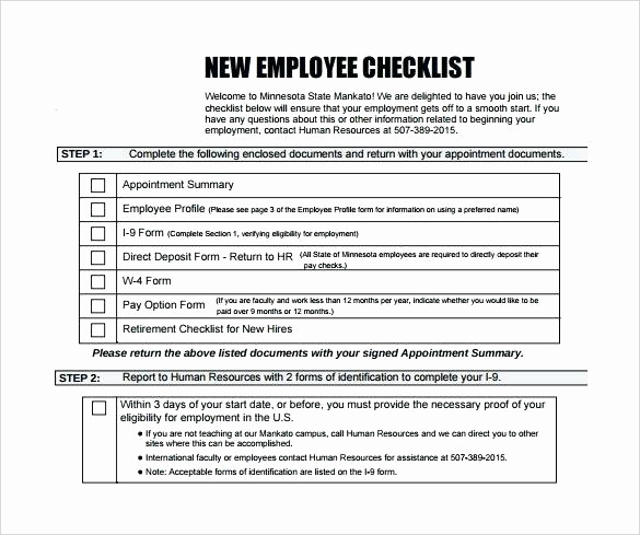 New Hire Packet Template New New Employee Checklist Template Awesome Best