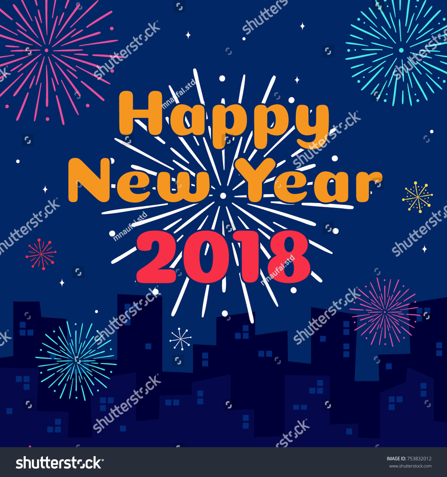 New Year Card Template Beautiful Happy New Year 2018 Card Template Stock Vector