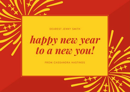 New Year Card Template Best Of Red & Yellow Fireworks New Year Card Templates by Canva